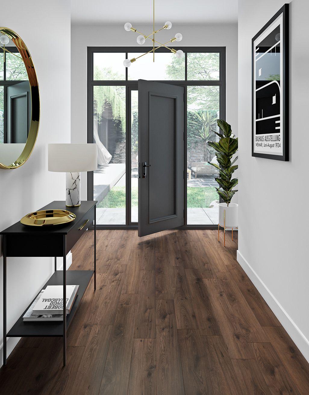 Farmhouse Dark Oak Laminate Flooring, Dark Oak Wood Laminate Flooring