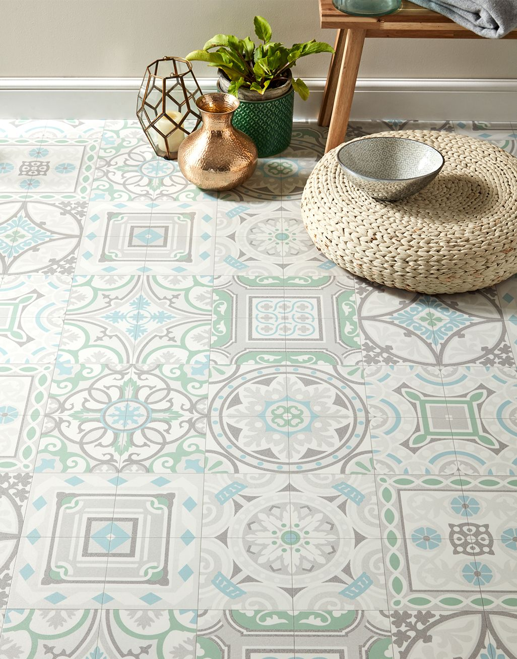 Funky Antique Tiles Flooring Super