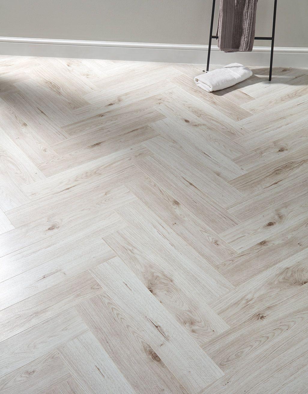 Pearl Oak Laminate Flooring, White Herringbone Laminate Flooring