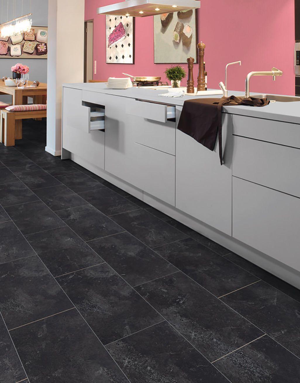 Verona Tile Black Slate Laminate, Black Slate Tile Effect Laminate Flooring