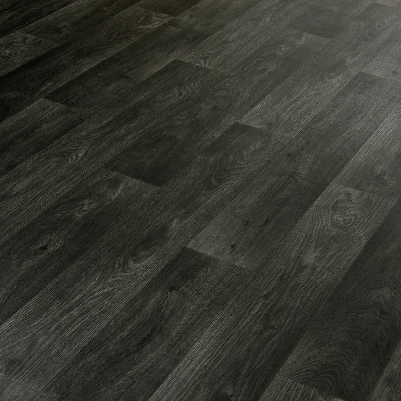 Black wood effect vinyl flooring remnant bargain 5 for Black wood effect lino