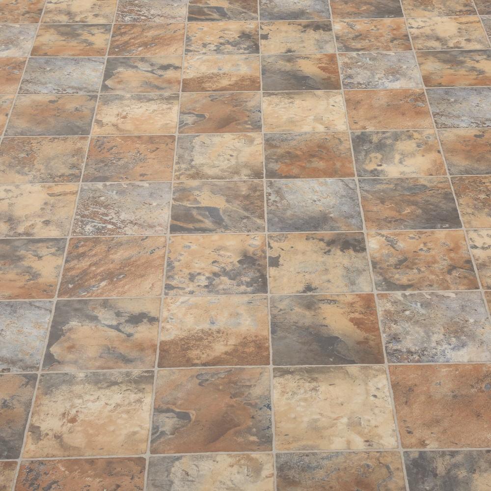 2 3 4m wide high quality vinyl flooring dark tiles for Quality linoleum flooring