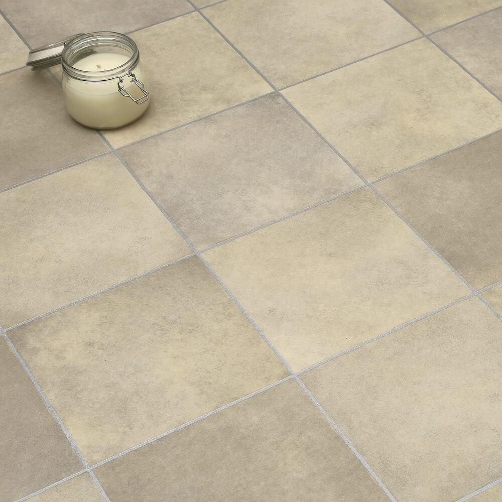 Beige tiles non slip vinyl flooring lino kitchen - Non slip vinyl flooring for bathrooms ...