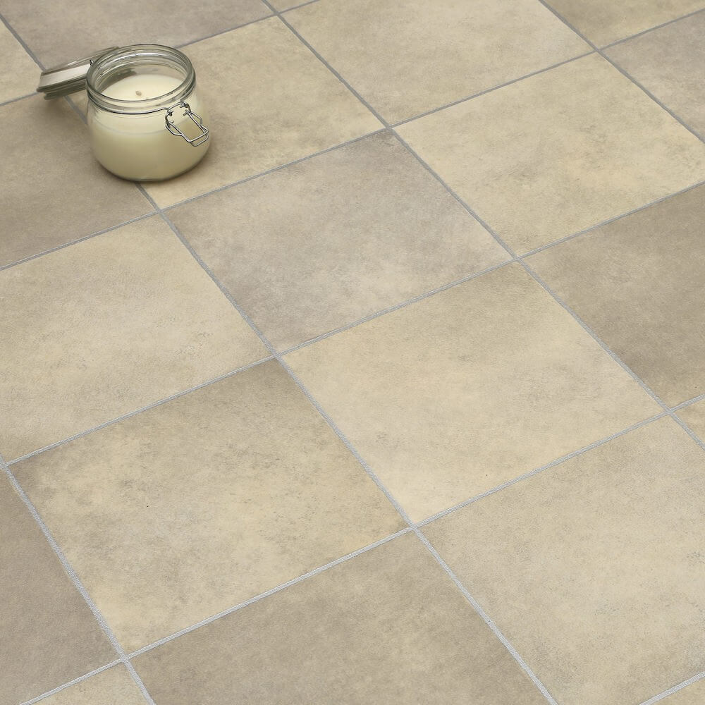 beige tiles non slip vinyl flooring lino kitchen. Black Bedroom Furniture Sets. Home Design Ideas