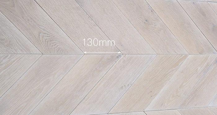 Whitewashed Oak Chevron Oak Solid Wood Flooring - Descriptive 2