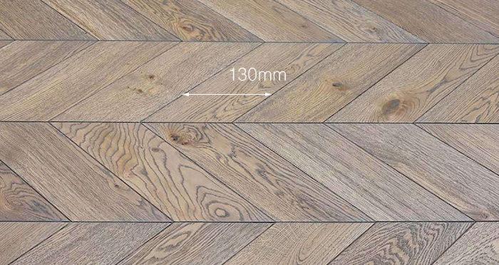 Brushed Grey Chevron Oak Solid Wood Flooring - Descriptive 2