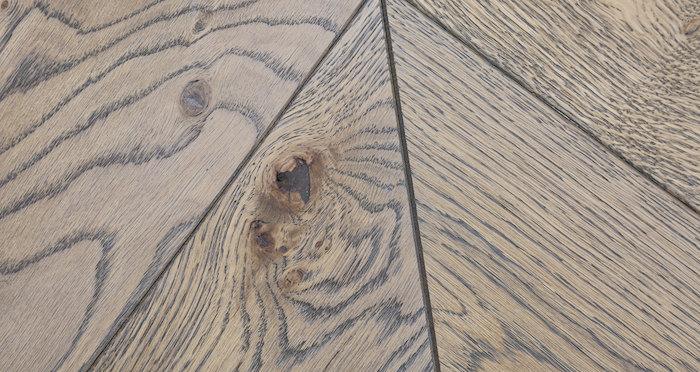 Brushed Grey Chevron Oak Solid Wood Flooring - Descriptive 3