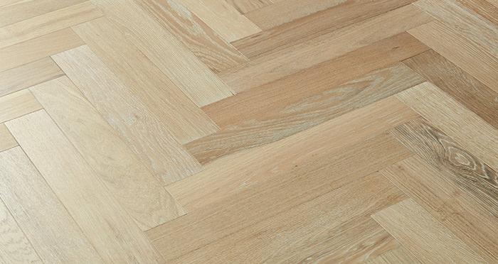 Branscombe Whitewashed Coastal Herringbone Oak Engineered Wood Flooring - Descriptive 3
