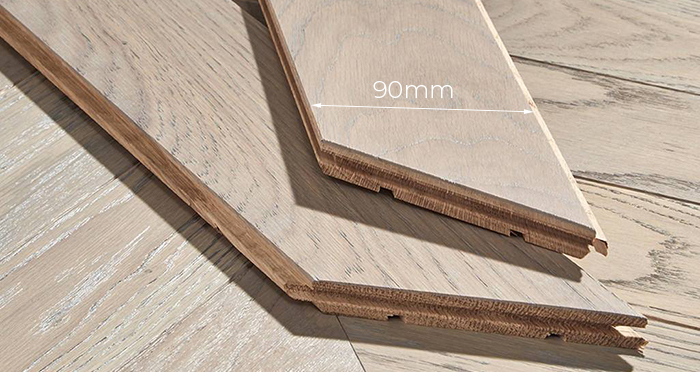 Park Avenue Chevron Silk Grey Oak Brushed & Oiled Solid Wood Flooring - Descriptive 3