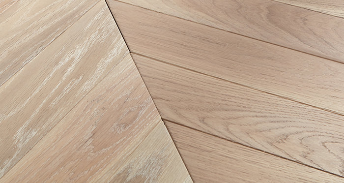 Park Avenue Chevron Frosted Oak Brushed & Oiled Solid Wood Flooring - Descriptive 1