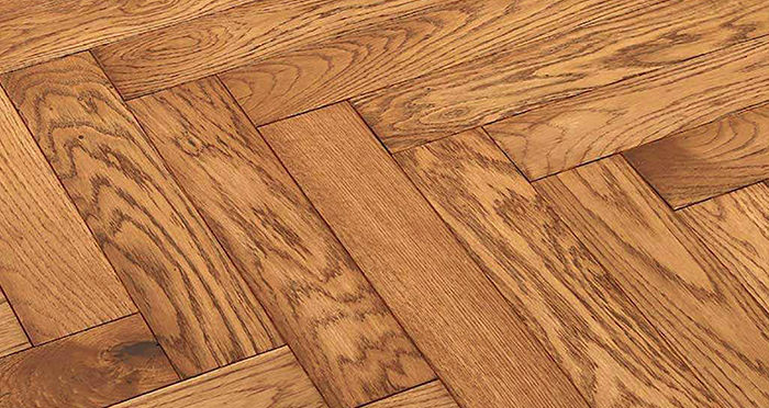 Park Avenue Herringbone Golden Oak Solid Wood Flooring - Descriptive 2