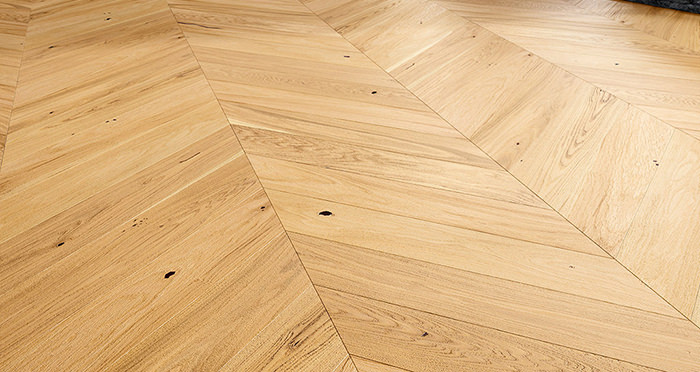 Chelsea Chevron - Natural Oak Brushed & Lacquered Engineered Wood Flooring - Descriptive 1