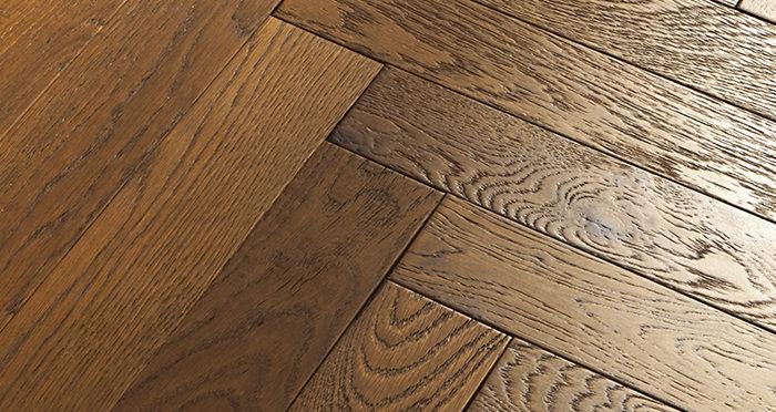 Oxford Herringbone Honeycomb Oak Brushed & Oiled Engineered Wood Flooring - Descriptive 1