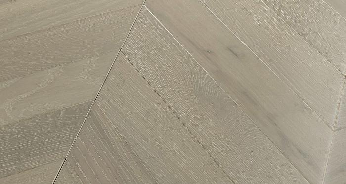 Cambridge Chevron Pearl Grey Oak Brushed & Lacquered Engineered Wood Flooring - Descriptive 1
