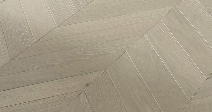 Cambridge Chevron Pearl Grey Oak Brushed & Lacquered Engineered Wood Flooring - Descriptive 3