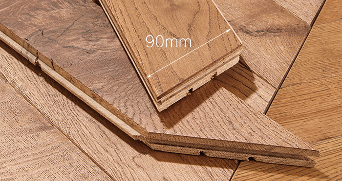 Park Avenue Chevron Cinnamon Oak Brushed & Oiled Solid Wood Flooring - Descriptive 3