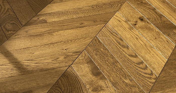 Cambridge Chevron Golden Smoked Oak Brushed & Lacquered Engineered Wood Flooring - Descriptive 3