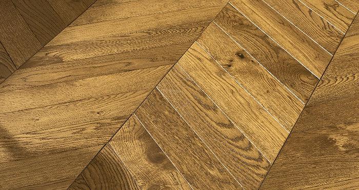 Cambridge Chevron Golden Smoked Oak Brushed & Lacquered Engineered Wood Flooring - Descriptive 4