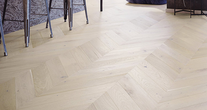 Chelsea Chevron - Cappuccino Oak Brushed & Lacquered Engineered Wood Flooring - Descriptive 1