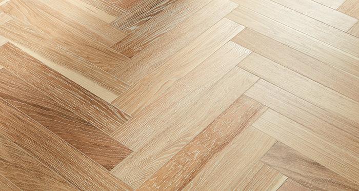 Branscombe Whitewashed Harbour Herringbone Oak Engineered Wood Flooring - Descriptive 1