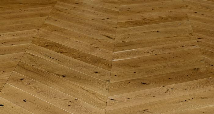 Chelsea Chevron - Golden Oak Brushed & Lacquered Engineered Wood Flooring - Descriptive 2