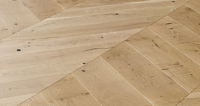Chelsea Chevron - Golden Oak Brushed & Lacquered Engineered Wood Flooring - Descriptive 4