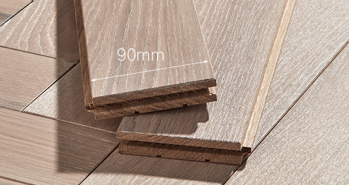 Park Avenue Herringbone Frosted Oak Solid Wood Flooring - Descriptive 3