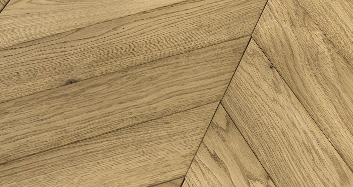 Cambridge Chevron Natural Oak Brushed & Oiled Engineered Wood Flooring - Descriptive 1