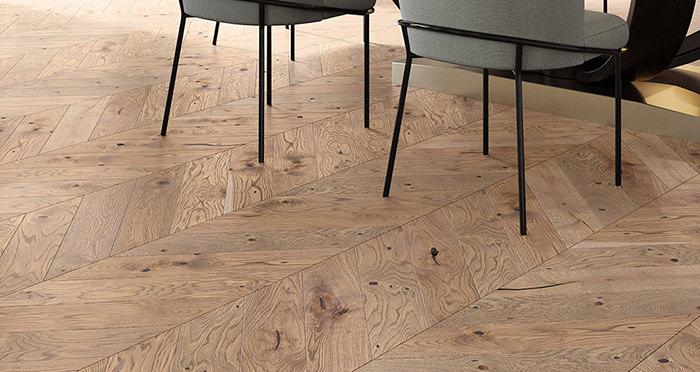 Chelsea Chevron - Urban Oak Brushed & Lacquered Engineered Wood Flooring - Descriptive 1