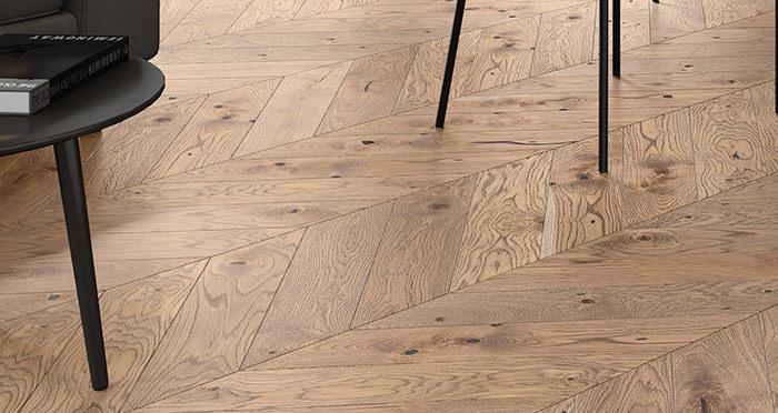 Chelsea Chevron - Urban Oak Brushed & Lacquered Engineered Wood Flooring - Descriptive 2